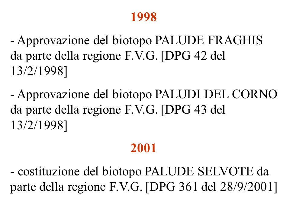 1998 Approvazione del biotopo PALUDE FRAGHIS da parte della regione F.V.G. [DPG 42 del 13/2/1998]